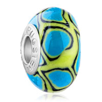 European Beads - turquoise and olive polymer clay beads charms bracelets Image.