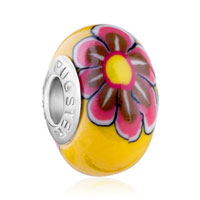 European Beads - pink and brown daisy yellow polymer clay beads charms bracelets Image.