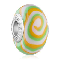 European Beads - white green and orange swirl polymer clay beads charms bracelets Image.