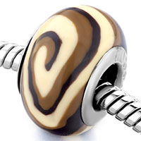  - brown and white swirl polymer clay bead Image.