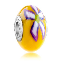 European Beads - yellow with purple and white flower polymer clay all brands beads charms bracelets Image.