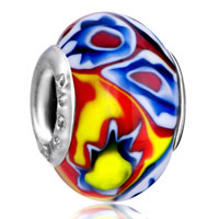  - blue and green flower with red and yellow pistil murano glass all brands Image.