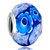 - deep blue and white flowers murano glass all brands Image.