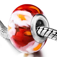  - red with white flower and yellow pistil murano glass all brands Image.
