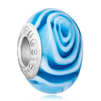 European Beads - plae blue fantasy flower sea wave fit all brands murano glass beads charms bracelets Image.