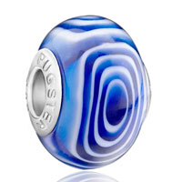 - blue circle pattern gorgeous murano glass european beads Image.