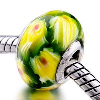 - green with yellow flowers and red pistil murano glass all brands Image.