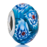European Beads - fresh blue flower gorgeous fit all brands murano glass beads charms bracelets Image.