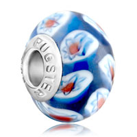 European Beads - sapphire blue ball aquamarine white flower murano glass beads charms bracelets Image.