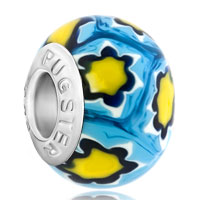 - pale blue with yellow flowers murano glass all brands Image.