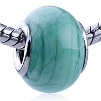 European Beads - intricate turquoise line fit all brands murano glass beads charms bracelets Image.