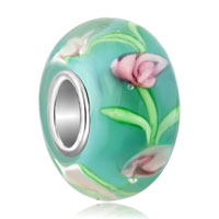 - pink flower and green leaf murano glass Image.