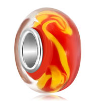 - orange ball bright yellow abstract pattern stripes murano glass bead charm Image.