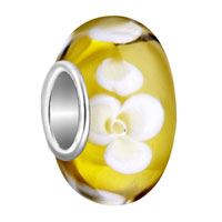 European Beads - fresh yellow with white flower murano glass beads charms bracelets Image.