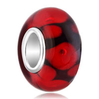 European Beads - pure black ball garnet red dots all brand murano glass beads charms bracelets Image.
