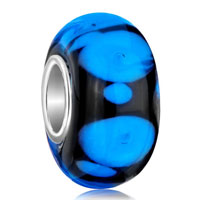 European Beads - pure black ball sapphire blue dots all brand murano glass beads charms bracelets Image.