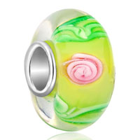 European Beads - yellow ball pink flower green leaf all brand murano glass beads charms bracelets Image.
