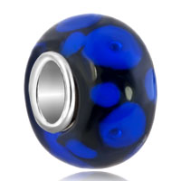 European Beads - blue dots glass murano beads charms bracelets Image.