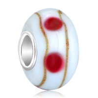 European Beads - ivory white pink dots brown stripes fit all brands murano glass beads charms bracelets Image.