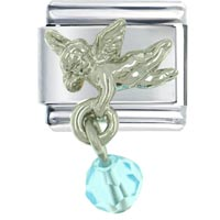 Italian Charms - december blue zircon color baby angel italian charm Image.