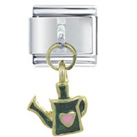 Italian Charms - water can green dangle italian charm Image.