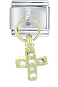 Italian Charms - dangle golden rhinestone cross dangle italian charm Image.