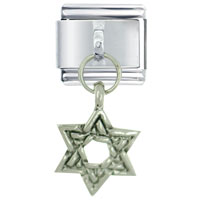Italian Charms - dangle silver star of david italian charm Image.