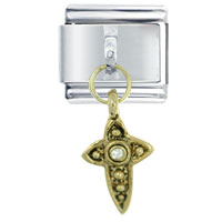 Italian Charms - rhinetone cross gold dangle italian charm Image.