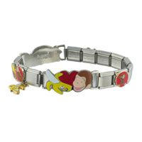 Italian Charms - studded curious george licensed italian charm Image.