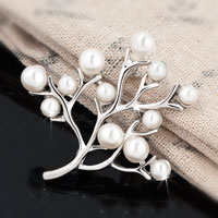 New White Silver Pearl Rhinestone Crystals Branch Pin Wedding Gift Swarovski Crystal Brooches