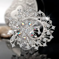 Wedding Silver White Vintage Floral Bridal Swarovski Crystal Brooches