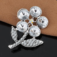 Wedding Silver White Drop Floral Bridal Pin Swarovski Crystal Brooches