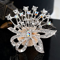 Floral Flower Vintage Rhinestone Wedding Bridal Pin Swarovski Crystal Brooches