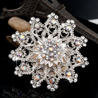 Wedding Bridal Party Round Bouquet Pin Rhinestone Swarovski Crystal Brooches