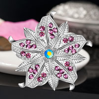 Purple Vintage Rhinestone Wedding Bridal Floral Flower Pin Swarovski Crystal Brooches