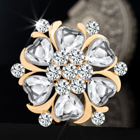 Heart Vintage Rhinestone Gold Floral Wedding Bridal Swarovski Crystal Brooches