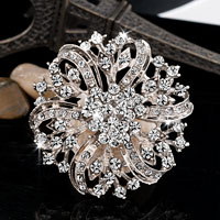 Wedding Silver White Petal Floral Bridal Pin Swarovski Crystal Brooches