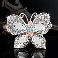 Silver White Tear Drop Rhinestone Butterfly Bridal Vintage Swarovski Crystal Brooches