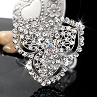 Women Vintage White Rhinestone Floral Flower Bridal Pin Swarovski Crystal Brooches