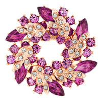 New Floral Flower Pin Brooch Vintage Rhinestone Crystal Purple Bouquets