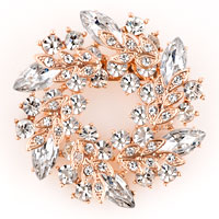 New Floral Flower Pins Brooches Silver/ P Vintage Clear Rhinestone Crystal