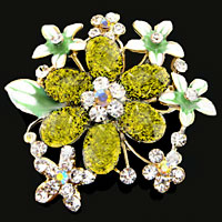 Peridot Green Drop Stone Rhinestone Open Floral Flower Leaf Pin Swarovski Crystal Brooches