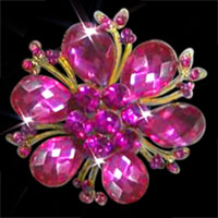 Big Pink Rhinestone Crystal Gold Floral Flower Pin Brooch Wedding Bridal