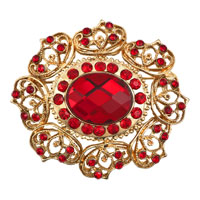 Bridal Party Brooch Pin Pendant Red Austrian Rhinestone Crystal Vintage