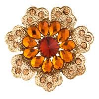 Yellow Rhinestone Crystal Gold Floral Flower Brooch Wedding Bridal Brooch