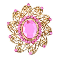 Pink Big Rhinestone Crystal Wedding Bridal Bouquet Floral Flower Brooch Pin