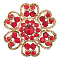 Vintage Red Crystal Rhinestone Gold Floral Flower Leaf Pin Brooches