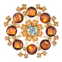 Vintage Yellow Rhinestone Crystal Gold Floral Flower Wedding Bridal Brooch