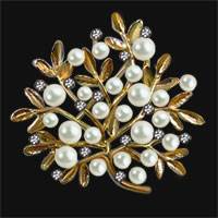 Gold Vintage Crystal Rhinestone Floral Flower Leaf Pearl Brooches Pin