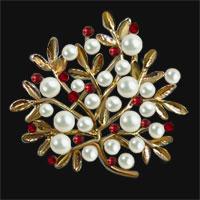 Gold Vintage Red Crystal Rhinestone Floral Flower Leaf Pearl Brooch